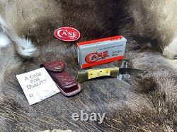 Case 1991 Stag 5158L SS Lockback Knife With Leather Sheath Mint In Box CA00154
