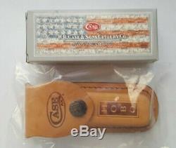 Case Cutlery Amber Bone Peach Seed Jig Hobo Knife & Hobo Sheath Combo Set 00052