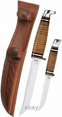 Case Hunter Two Fixed Blade Knife Set Stainless Steel s and Sheath
