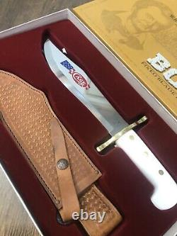 Case XX 12398 Bowie Knife White Synthetic Handle Blade Artwork & Leather Sheath