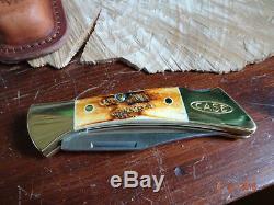 Case XX 4 1/4 Locking Folder Mako Ca-6921 6.5 Bonestag Handle Leather Sheath