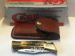 Case XX 5197l Ss Stag Pocket Knife Lock-back Leather Sheath, Boxed USA