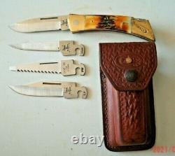 Case XX Changer Pocket Knife, Stag, 4 Blades, Original Leather Sheath