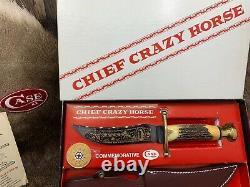 Case XX Chief Crazy Horse Stag Kodiak Knife & Leather Sheath Mint In Box