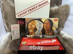Case XX Chief Crazy Horse Stag Kodiak Knife & Leather Sheath Mint In Box A