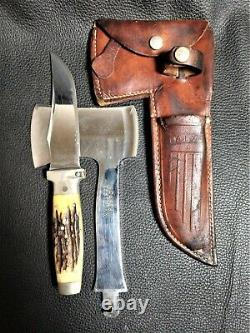 Case XX Stag Handle Hunting Knife and Hatchet in original Leather Sheath 1935
