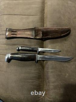 Case XX USA 316-5 Tested XX Razor Edge Blade Hunting Knife Set Twin Flinn 1982