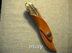Case XX USA 5 Dot Fixed Blade M5 Finn Knife Original Leather Sheath India Stag