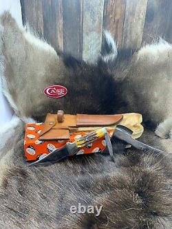 Case's XX USA Axe & Knife Combo Set Stag & Leather Sheath Mint In Pumpkin Box