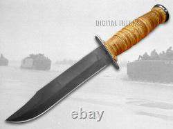 Case xx U. S. Marines USMC Knife Fixed Blade Grooved Leather Carbon Steel 00334
