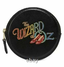 Coach Leather Wizard Of Oz Round Coin Case Black/Gold Original Packaging