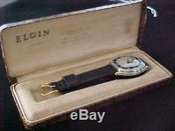 Early Art Deco Original Man's Elgin In Two-Tone Case Enamel Bezel & Original Box