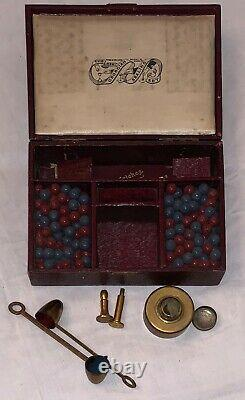 English 19th century wax sealing set in original leather cased box. The interior