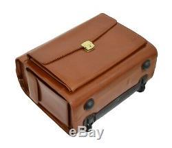 Exclusive Cognac Leather Pilot Case Wheeled Cabin Bag Lawyers Doctors Briefcase