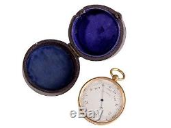 FREE SHIP Antique Victorian Brass Pocket Barometer in Leather Case