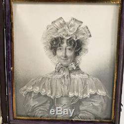 Fine Antique Portrait Miniature Sketch Of A Lady Leather Cased 12cm X 10.5cm
