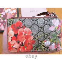 GUCCI Blooms Leather Coin Pink Flower Case Original Box