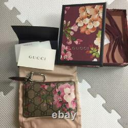 GUCCI Blooms Pink Flower Leather Coin Case Original Box