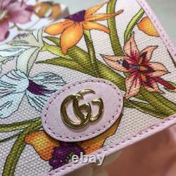 GUCCI Flora Print Japan Limited Card Case Mini Wallet Unused PINK Original logo