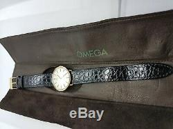 Gents Omega De Ville 9ct Solid Gold Inc Original Omega Leather Pouch & Slip Case