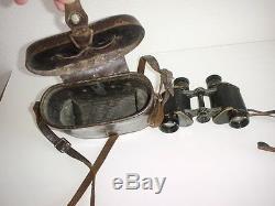 German Army Navy Original Binoculars Ww1 Goerz Berlin 6x30 Drp Leather Case