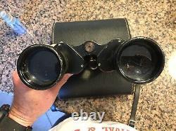 German WWII Era Binoculars E. Leitz Wetzlar 7x50 Marseptit with Leather case