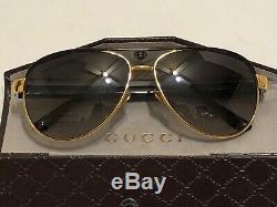 Gucci Aviator Sunglasses With Guccisima Leather Case Euc No Scratches