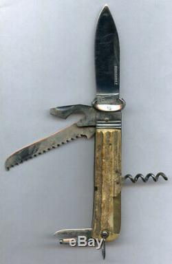 Gucci Italy Vintage By Tonerini Inox Jumbo Survival Knife Stag Leather Case Rare