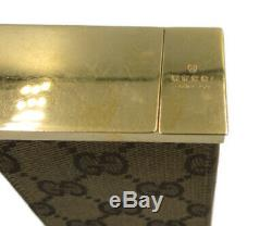Gucci Original GG Cigarette Case Holder Canvas Leather Color Gold Metal Fittings