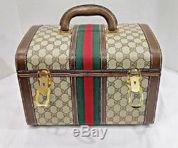 Gucci Vintage GG Trunk Red/Green Brown Monogram Travel Train Case Luggage Mint