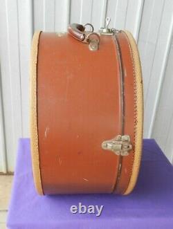 Hat Box Travel Case Leather Cardboard Key Brown Circa 1940's Wonderful Vintage