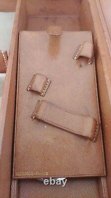 Hermes Auth. Brown Leather Vanity Case Toiletry Bag Suitcase Gold Travel 1950