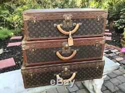 LOUIS VUITTON 3 PC TRUNK SUITCASE TRAVEL SET WithINSERTS, 1 ORIG KEY LARGEST CASE