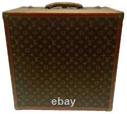 LOUIS VUITTON Vintage Monogram Hard Shell Leather Silk Lined Hat Box Case