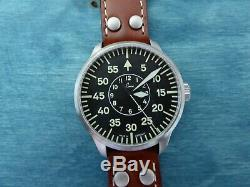 Laco 1925 Aachen Pilot Basic 42 mm Case Automatic Watch w Brown Leather Strap