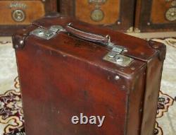 Large Antique English Leather Shoe Case