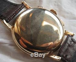 Longines chronograph mens wristwatch cal. 30CH 18K solid gold case all original