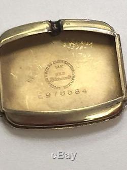 Lord Elgin Men's Vintage 14k Gold Wristwatch Leather Strap with Original Case