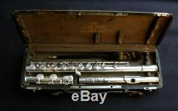 Louis Lot vintage flute, ca 1925, with its original leather case. Reconditioned