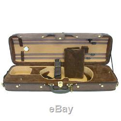 Luxury Euro-Style 4/4 Violin Case Oblong Brown/Brown/Tan, Imitation Leather