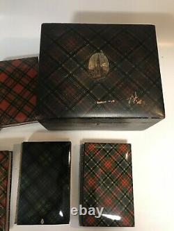 MAUCHLINE-WARE TARTANWARE TARTAN SCOTT MAUCHLINEWARE CASE 1871 Leather Set RARE