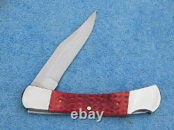 MIB Rare 1989 Case xx R61139L Lockback 5 inch Red Bone Leather Sheath Knife