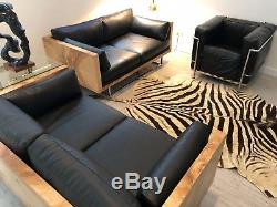 Milo Baughman Sofas Burl Wood Tuxedo Case Settee's Black Leather Love Seats