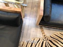 Milo Baughman Sofas Burl Wood Tuxedo Case Settee's Black Leather Love Seats PAIR