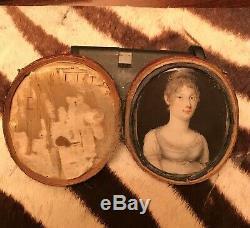 Miniature Portrait Painting Red Wood / Leather Case (circa 1800-1840 est.)