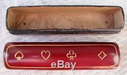 Mint Set Of 5 Vintage Poker Dice Original Red Calf Leather Gold Embossed Case
