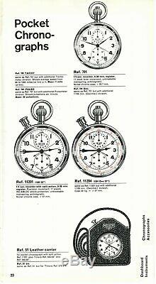 Mint Vintage 1960s Heuer Rally Stop Watch in Original Heuer Leather Case, Rare