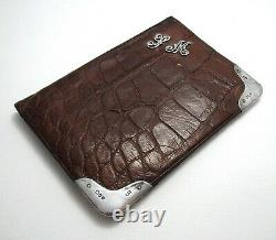 Mono SM Victorian Sterling Silver Crocodile Leather Wallet Purse Card Stamp Case