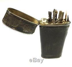 N762 C1770 Antique 18th Century Leather & Silver Necassaire Etui Travelling Case