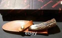 NICE BlackJack Stag Trail Guide Hunting Knife with Leather Case A 2 Tool Steel USA